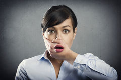 Surprised young businesswoman in shock. Royalty Free Stock Images