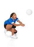 Surprised young girl playing the volleyball. Isolated On White Stock Images