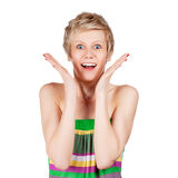 Surprised a young girl with short hair Royalty Free Stock Photos