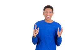 Surprised young man excited about something Royalty Free Stock Image