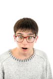 Surprised Young Man in Glasses Stock Photos