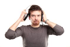Young man in headphone Stock Photo
