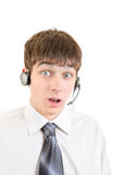 Surprised Young Man with Headset Royalty Free Stock Photos