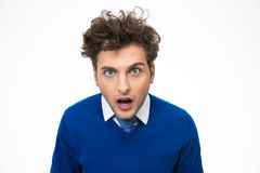 Surprised young man looking at the camera Stock Images
