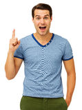 Surprised Young Man Pointing Upwards Royalty Free Stock Images
