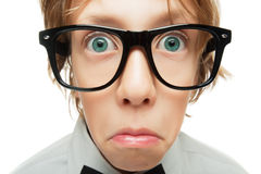 Surprised young nerd royalty free stock photo