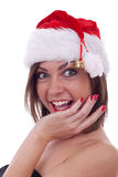 Surprised young santa woman Royalty Free Stock Photos