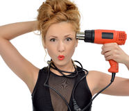 Surprised young sexy woman contractor worker with construction d Stock Photos