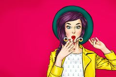 Surprised young woman in hat. Amazed girl with wow face. Surprised young woman in hat. Advertising poster or party invitation with amazed girl with wow face in vector illustration