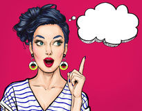 Surprised young sexy woman with open mouth. Pointing finger up. Comic woman. Amazed women. Pop Art girl Stock Images