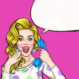 Surprised young woman shouting/yelling on retro telephone.Advertising poster.Comic woman.Gossip girl, red cheeks, curls,. Girl, shout, hipster, hey, wow vector illustration