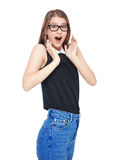 Surprised young teenager girl with isolated Royalty Free Stock Image