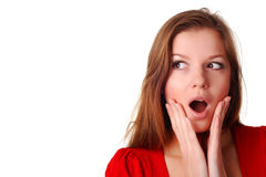 Surprised young woman royalty free stock image