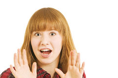 Surprised young woman Stock Photos