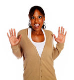 Surprised young woman with hand up Royalty Free Stock Photo