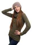Surprised young woman in knitted cap Stock Image
