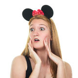 Surprised young woman with mouse ears. Stock Images