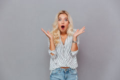 Surprised young woman shouting Stock Photography