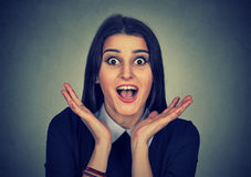 Surprised young woman shouting Royalty Free Stock Image