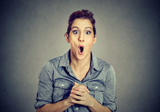 Surprised young woman stunned by something Royalty Free Stock Images
