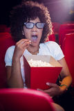Surprised young woman watching a 3d film Royalty Free Stock Photo