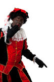 Surprised Zwarte Piet ( black pete). Typical Dutch character part of a traditional event celebrating the birthday of  Sinterklaas in december over white Royalty Free Stock Photography