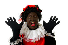 Surprised Zwarte Piet ( black pete) typical dutch Royalty Free Stock Photography