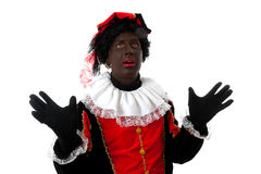 Surprised Zwarte piet ( black pete) typical Dutch Stock Photo