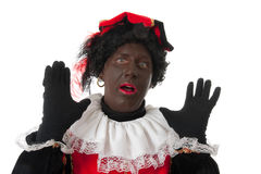 Surprised Zwarte piet ( black pete) typical Dutch Stock Photography
