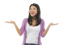 Surprising. Happy Asian woman open her arms with surprising face over white background Royalty Free Stock Image