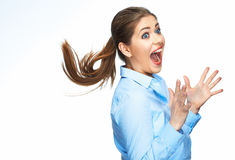Surprising business woman portrait  on white Stock Photos