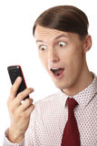Surprising cell phone Stock Photo