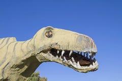 Portrait of a dinosaur in Istria. Surprising encounter - dinosaur copy made of papier mache in Istria royalty free stock photo