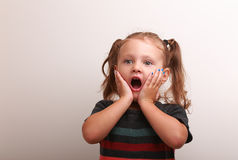 Surprising funny kid girl in fashion dress Stock Images