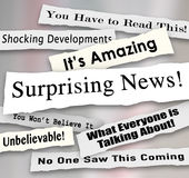 Surprising News Shocking Unbelievable Headlines Ripped Torn News. Surprising News headlines torn or ripped from newspapers reporting shocking gossip or Stock Photos