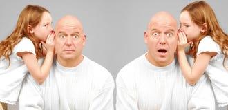 Surprising Secrets. Twin men being told shocking secret by twin girls royalty free stock image