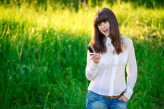 Surprising text message Royalty Free Stock Images