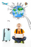 Surprising traveler to watch up a worldwide travel landmark Royalty Free Stock Photo