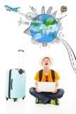 Surprising traveler to watch up a worldwide travel landmark Royalty Free Stock Photo