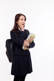 Surprising young pretty Asian student Stock Image