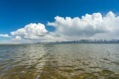 Surprisingly beautiful lake. Surprisingly beautiful Son-Kul lake with blue sky and stunned clouds Stock Photos