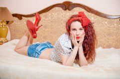 Surprized pretty red head lady with long wavy hair Stock Images