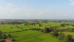 Surr skjutit sceniskt landskap för flyg- sikt av den åkerbruka lantgården på bygd arkivfilmer