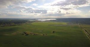 Surra att flyga över den härliga gröna ängen med sjön på bakgrunden Flyg- sikt av bygdlandskapet arkivfilmer