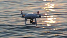 Surra flyget i luft- och gnistrandesolljus på solnedgånghavet stock video