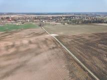 surrbild den flyg- sikten av vått kultiverat jordbruk sätter in ne Arkivfoto