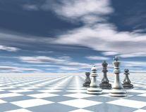 Surreal abstract blue background with chess pieces, chessboard and blue sky with clouds. Stock Images