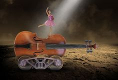 Surreal Music, Violin, Ballet, Dancing, Girl stock images