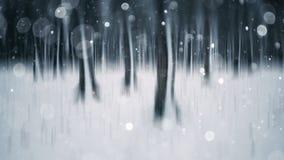 Surreal abstracte de winterscène met bos en sneeuwvlokken royalty-vrije stock foto's
