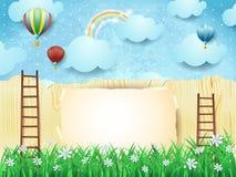 Surreal achtergrond met treden en hete luchtballons Stock Afbeeldingen